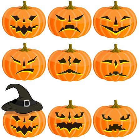 Set pumpkins for Halloween. EPS10 Vector