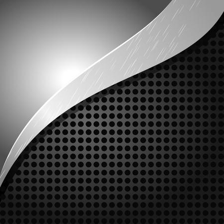 Ilustración vectorial de un fondo metálico con agujeros y una onda Ilustración de vector