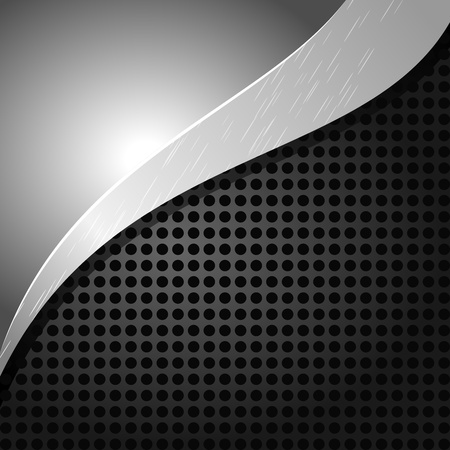 Vector illustration of a metallic background with holes and a wave Vector