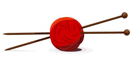 garabatos: Ilustraci�n vectorial de ovillo de lana y agujas de tejer Vectores