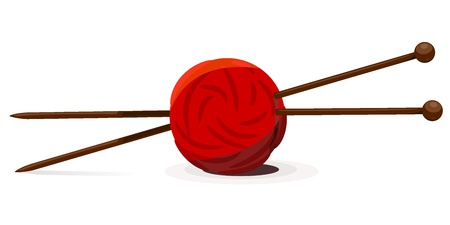 Vector illustration of wool ball and knitting needles