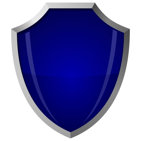 Vector illustration of blue glass shield in a steel frame Vector