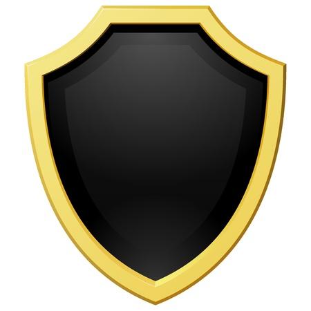 coat of arms: Ilustración vectorial escudo dorado con un fondo oscuro