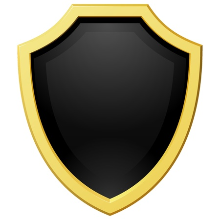 coat of arms  shield: Vector illustration golden shield with a dark background Illustration