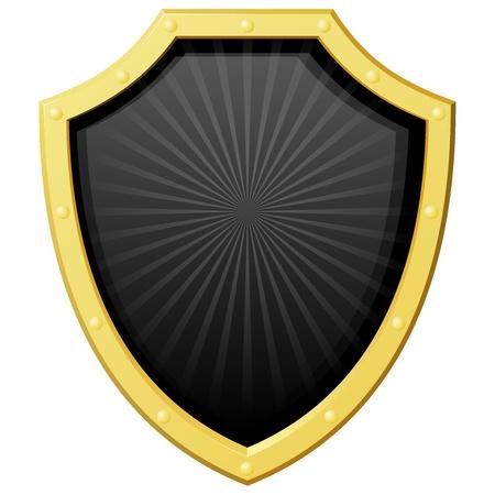 shield emblem: Illustrazione vettoriale d'oro scudo con uno sfondo scuro ed i raggi