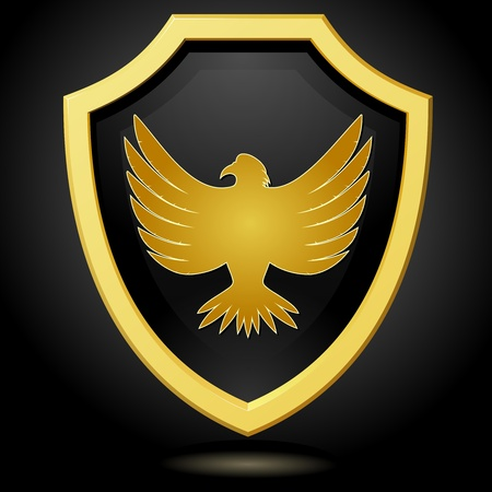 Vector illustration golden shield on a black background with an eagle Vector