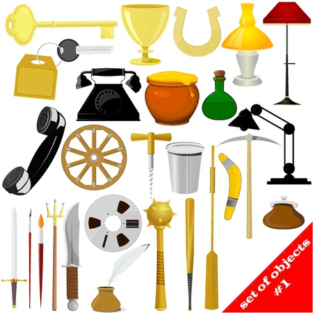 Illustration of a set of objects   Vector