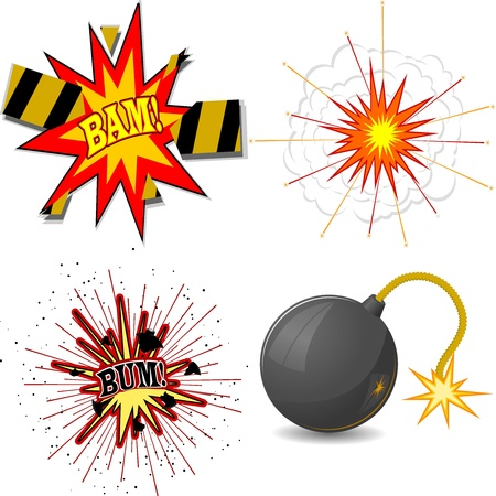 illustration of a set of explosions Stock Vector - 17657732