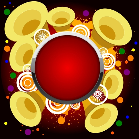 Abstract background with golden trumpets, and the red button Vector
