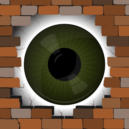 Big Eye in the gap on the wall Stock Vector - 14219012