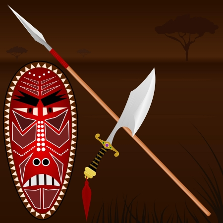 cartoon warrior: Illustrazione delle armi africane
