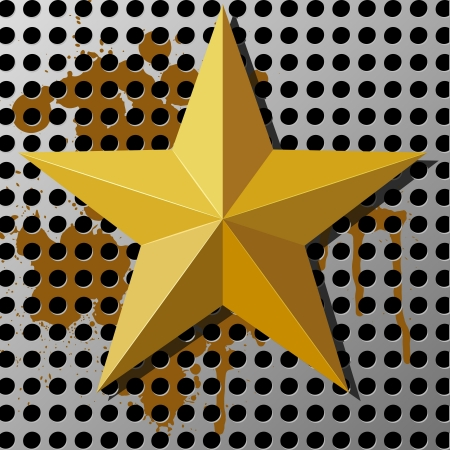 Gold star on a metal background with holes Stock Vector - 14219020