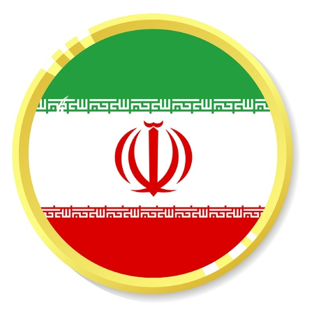 button with flag Iran Vector