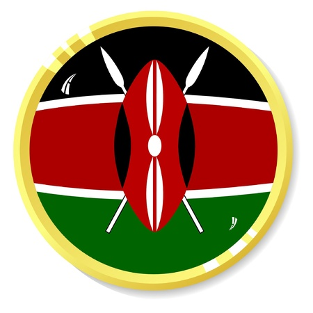 button with flag Kenya Vector
