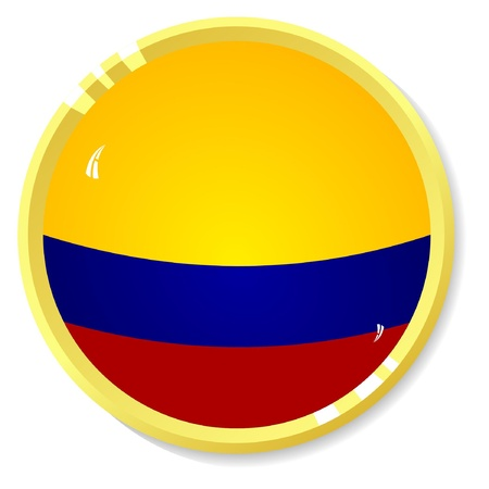 button with flag Colombia Vector