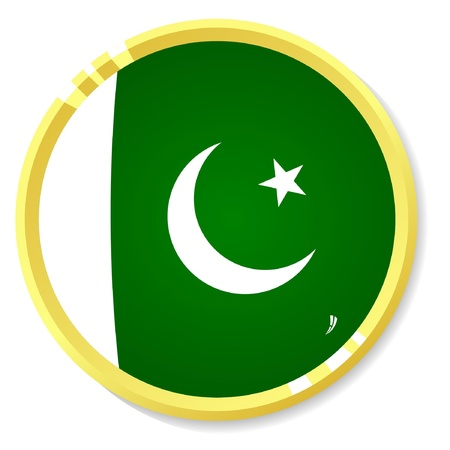 button with flag Pakistan Vector