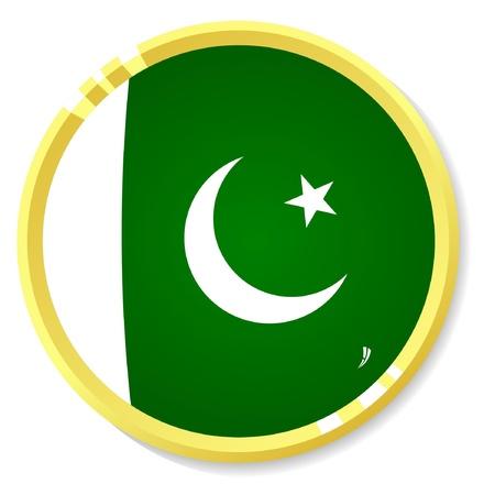 flag of pakistan: button with flag Pakistan Illustration