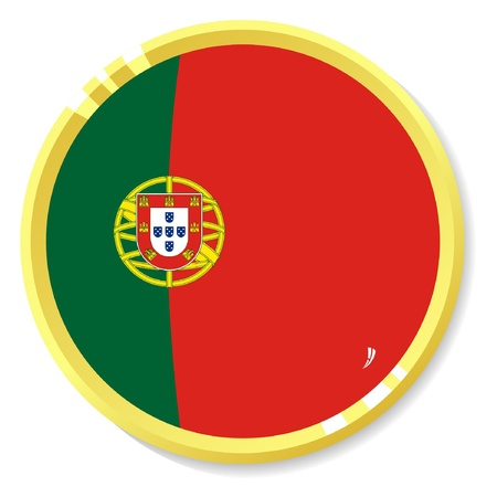 button with flag Portugal Vector