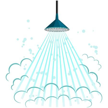 ba�o blanco: Ilustraci�n vectorial de la ducha Vectores