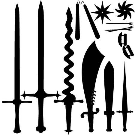 illustration of a set of knives Vector