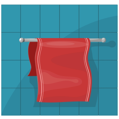 Vector illustration of towels on the holder Vector