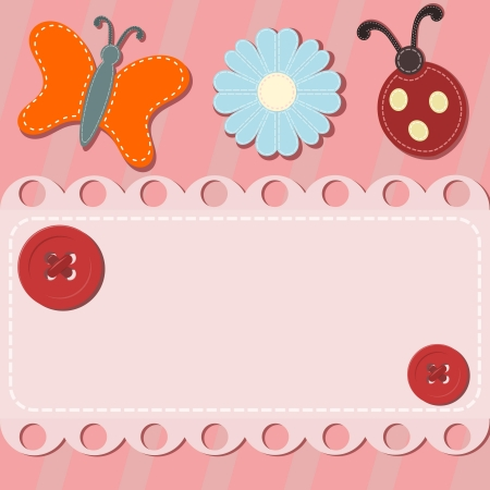 craft button: Abstract background with button and sewing Illustration