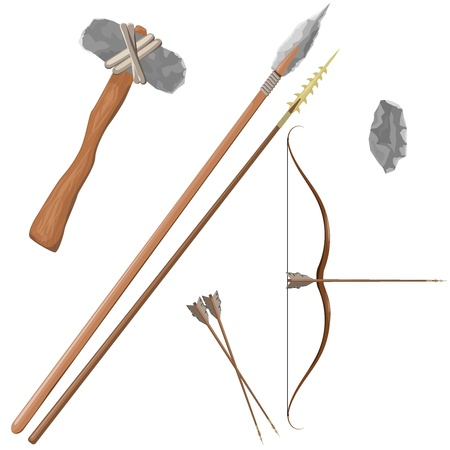 traditional weapon: Items ancient people Illustration