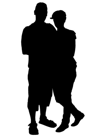 Vector silhouette of lovers  Vector