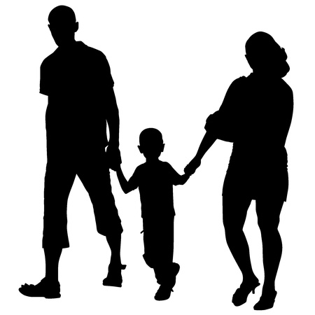 Vector silhouette of couples with baby Vector
