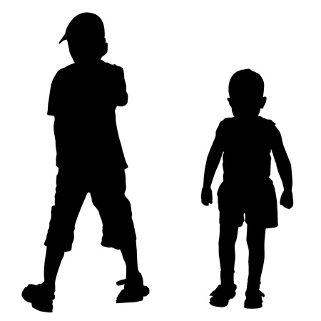Vector silhouettes of two boys Vector