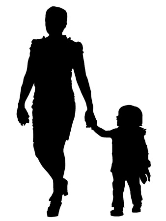 focus on shadow: Vector Mother and baby