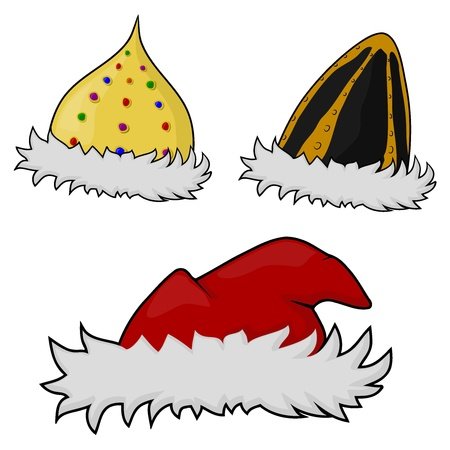 A set of vector images of hats with fur Stock Vector - 15522653
