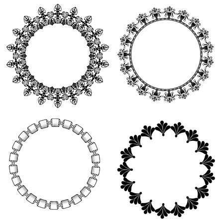 A set of round frames with ornament Vector