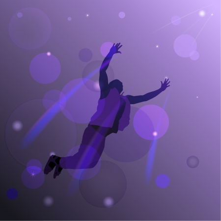 flying man: Abstract background with a silhouette of a flying man