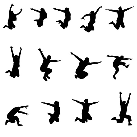 Set of images jumping athlete Vector