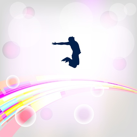 Abstract background with jumping silhouettes Vector