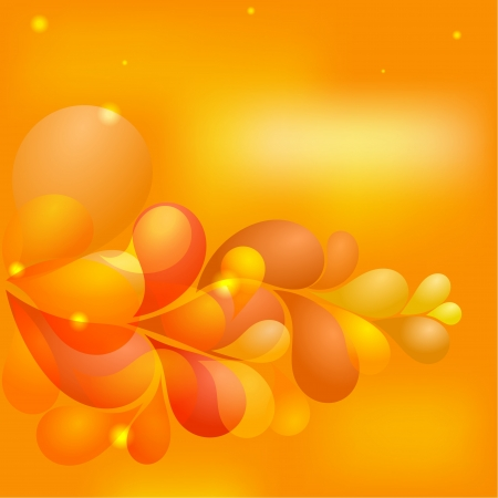 Abstract orange background with transparent drops. Vector