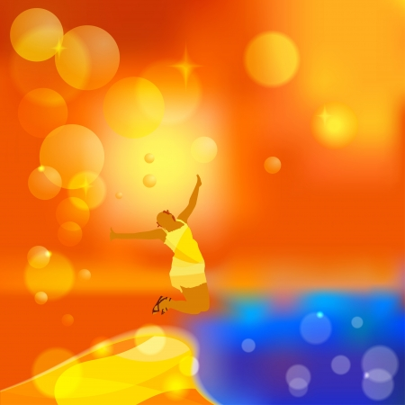 Abstract orange background with a silhouette of a girl Stock Vector - 15421138