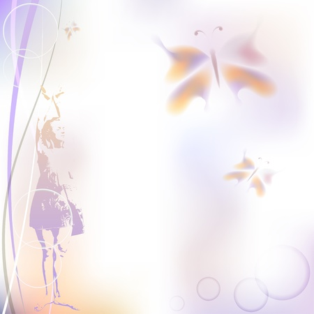 Abstract background with girl and butterflies. eps10 Stock Vector - 15550301