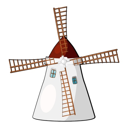 Cartoon illustration of a windmill. eps10 Vector
