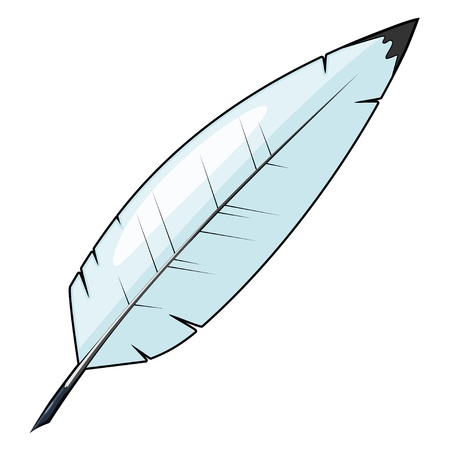 Cartoon feather for writing. Vector