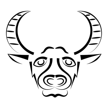 buffalo bison: Abstract silhouette of a bull
