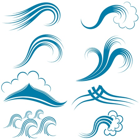 Set of wave symbols.