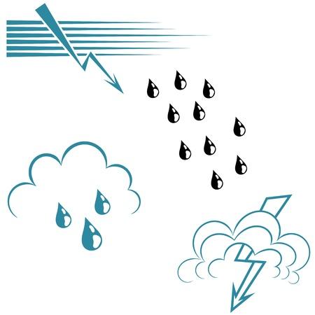 Set of wave symbols and lightning.  Ilustração