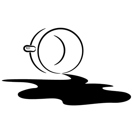 Illustration of an overturned cup and spilled coffee.  Illustration