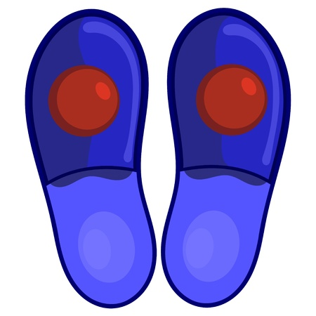 Blue bedroom slippers with red pompoms.  Vector