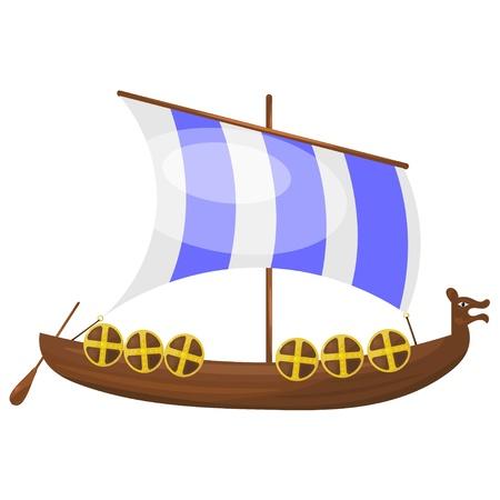mode of transportation: Cartoon Viking ship.  Illustration