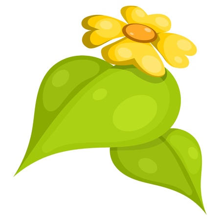 Yellow flower with leaves. Cartoon.  Stock Vector - 16109096