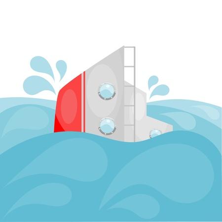 ahogandose: Naufragio. Cartoon.