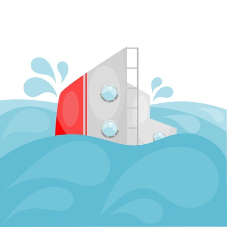 Shipwreck. Cartoon. Stock Vector - 16109199